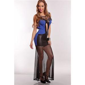 Sexy Sheer Bottom Maxi Dress, Cut Out  Maxi Dress, Royal Blue Black Maxi Dress, #N5623