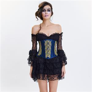 Victorian Corset and Black Dress, Vintage Brocade Corset & Black Lace Dress Set, Vampire Costume, #N12591