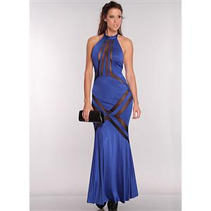Royal Blue Mesh Cut Out Maxi Dress N6615