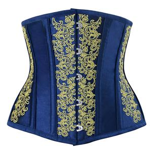 Brocade Embroidery Underbust Corset, Steel Bone Waist Training Corset, Steel Boned Brocade Corset, #N12590