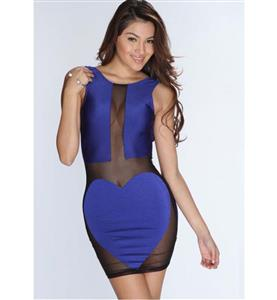 Extraordinary Royalblue Sleeveless See-though Dress, Lady Slim Package Hip Dress, Backless Night Club Dress, #N9334