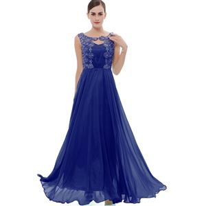 Sleeveless Round Neck Dress, Royalblue Beaded Appliques Maxi Dress, Appliques Chiffon Long Dress, Women