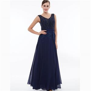 Dark Blue Sleeveless V Neck Dress, Pearl Beading Maxi Dress, Royalblue Appliques Long Dress, Women