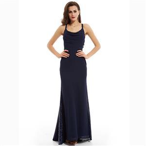Blue Spaghetti Straps Dress, Sleeveless Low Cut Dress, Blue Sequins Dress, Pleated Sequins Dress, Women