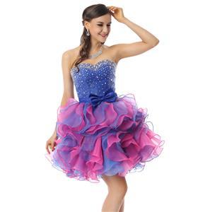Cute Sweet 16 Dresses, Sexy Cocktail Dresses, Girls Dresses on sale, Hot Selling Royalblue and Pink Ruffles Dress, Sweet 16 Dress for Cheap, #Y30070