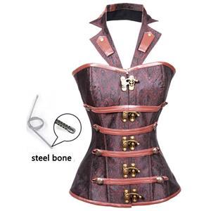 Vintage Brocade Outerwear Corset, Waist Cincher Corset, Cheap Outerwear Corset, Brown Steel Bone Corset, #N10371