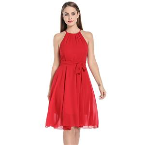 Elegant Ruched Neck Sleeveless Cutaway Shoulders Chiffon Tying Cocktail Party Swing Dress N20061