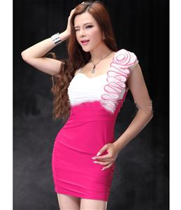 Stretchy Mini Dress, One Shoulder Ruched Cocktail Party Club, One Shoulder Club Wear, #N5720