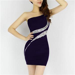 Dark-Purple Rhinestone One Shoulder Dress, One Shoulder Clubwear, Rhinestone Eve Dress, #N6843