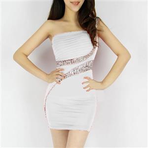 Sexy Night Dress, One Shoulder Evening Cocktail dresses, Rhinestone White Mini Dress, #N6844