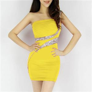 Party Dress Skirt Yellow, Sexy Lady Sequin Dress, Clubwear Party Mini Dress, #N6845