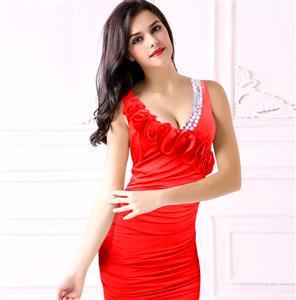 Asymmetrical Halter Dress, Ruffle Halter Dress, Red Simply Stunning Ruffle Dress, #N6925