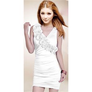 Sexy Halter Ruffle Dress in White, Ruffle Halter White Dress, White Halter Cocktail Dresses, #N6948