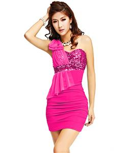 Ruffle One Shoulder Bowknot Dress, Beam Waist Packet Buttock Stylish Dress, Rose One Shoulder Dress, #N6876