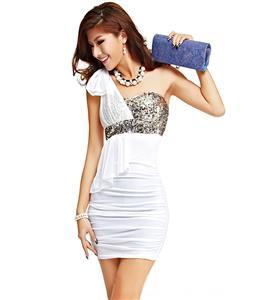 Bow Tie Dress, White Sequin One Shoulder Dress, Ruffle One Shoulder White Dress, #N6879