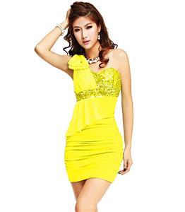 One Shoulder Bowknot Dress, Yellow One Shoulder Dress, Women