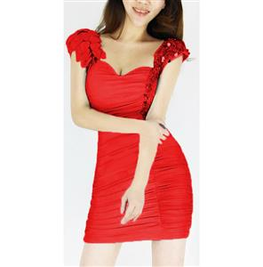 Sexy Ruffle Club Dress, Ruffle V Neck Dress, Clubwear Party Prom Dress, #N6927