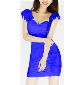 Bodycon Stretch Little Dress, Ruffle V Neck Halter Dress, Halter Clubwear Dress, #N6945
