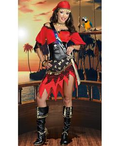 Rum Punch Pirate Costume, Red Womens Pirate Costume, #N4756