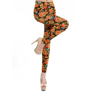 Orange Flowers Print Jeans, Fashion Seamless Foral Leggings, Rural wind Flower Printing Jeggings, #L6986
