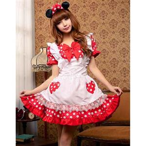 Cheap Mickey Mouse Halloween Costume, Red Hot Sale Mickey Mouse Costume, Cute Apron Mickey Mouse Costume,  #N9651
