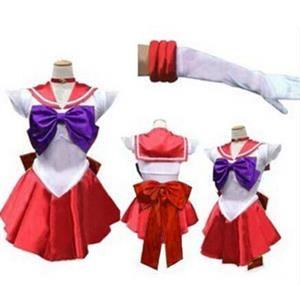 Sailor Moon Hino Rei Costume, Sailor Moon Crystal Costume, Sailor Moon Red and White Costume, Sailor Mars Costume, #N9565