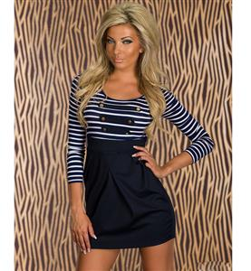 Sailor Striped Mini Dress, Navy Blue Stripe Dress, 3/4 sleeve Club Casual Navy Dress, #N7668