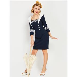 Summer Bodycon Dresses for Women, Dark Blue Bodycon Dress, Casual Party Dress, Casual Dress for Women, Vintage Dress for Women, #N14305