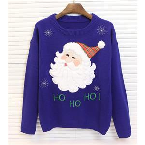Christmas Sweater, Santa Snowflakes Knitted Sweater, Cheap Women