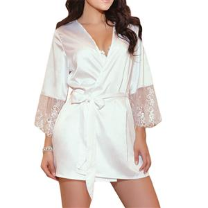 Sexy Satin Sheen Sheer Lace Flare Sleeve Thin Nightgown Bathrobe with Belt N18920