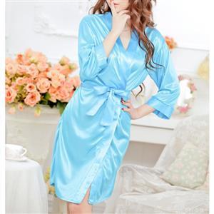 Satin Blue Robe, Silk Lightweight Sleepwear Robe, Sexy Sleepwear Robe Blue, Satin Robe Nightgown, Half Sleeve Nightgown for Women, #N17111