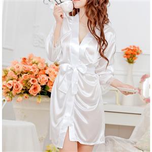 Satin White Robe, Silk Lightweight Sleepwear Robe, Sexy Sleepwear Robe White, Satin Robe Nightgown, Half Sleeve Nightgown for Women, #N17112