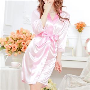 Satin Pink Robe, Silk Lightweight Sleepwear Robe, Sexy Sleepwear Robe Pink, Satin Robe Nightgown, Half Sleeve Nightgown for Women, #N17113