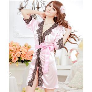 Satin Pink Lace Trim Robe, Silk Lightweight Sleepwear Robe, Sexy Sleepwear Robe Pink, Satin Robe Nightgown, Half Sleeve Nightgown for Women, #N17129