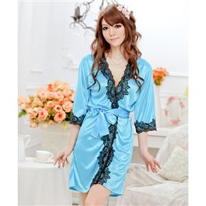 Satin Blue Lace Trim Robe, Silk Lightweight Sleepwear Robe, Sexy Sleepwear Robe Blue, Satin Robe Nightgown, Half Sleeve Nightgown for Women, #N17130