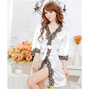 Satin White Lace Trim Robe, Silk Lightweight Sleepwear Robe, Sexy Sleepwear Robe White, Satin Robe Nightgown, Half Sleeve Nightgown for Women, #N17131