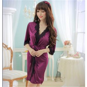 Satin Purple Lace Trim Robe, Silk Lightweight Sleepwear Robe, Sexy Sleepwear Robe Purple, Satin Robe Nightgown, Half Sleeve Nightgown for Women, #N17132