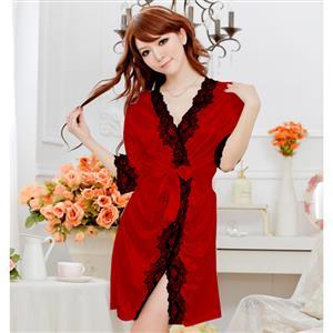 Satin Red Lace Trim Robe, Silk Lightweight Sleepwear Robe, Sexy Sleepwear Robe Red, Satin Robe Nightgown, Half Sleeve Nightgown for Women, #N17133
