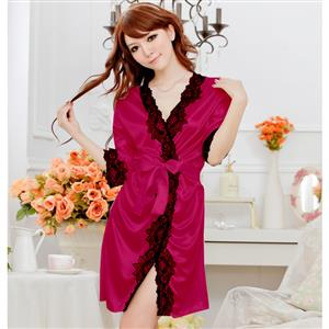 Satin Rose-Red Lace Trim Robe, Silk Lightweight Sleepwear Robe, Sexy Sleepwear Robe Rose-Red, Satin Robe Nightgown, Half Sleeve Nightgown for Women, #N17134