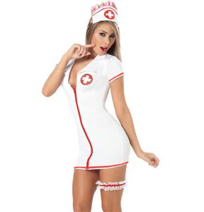 Saucy nurse costume, Sexy White Nurse Costume, Fever Nurse Costume, #N4837