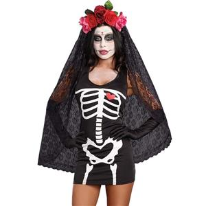 Crazy Scary Costume, Sexy Black Corpse Bride Costume, Day of the Dead Costume, Cheap Skeleton Costume, Hot Sale Halloween Costume, #N10829