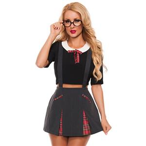 Innocent School Girl Costume, Sexy School Girl Costume, Plaid Schoolgirl Costume, School Girl Adult Costume, #N11901