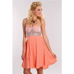Lace Bodice Strapless Mini Dress, Bandeau Lace & Chiffon Dress, Coral Off The Shoulder Cocktail Dress, #N8793
