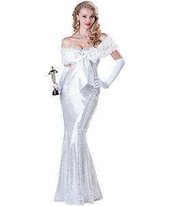 Seductive Starlet Costume, Hollywood Awards Costume, Grammy Costume, Movie Awards Costume, Deluxe White Dress Costume, #N5894