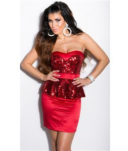 Red Sequin Peplum Dress, Sequin Bandeau Peplum Dress, Woman Red Peplum Dress, #N7831