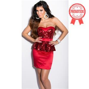 Sequin Bandeau Peplum Dress N7831