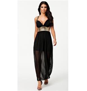 Sequin Maxi Dress, Chiffon Long Evening Dress, Gold Sequin Cross Back Dress, #N8622
