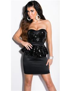 Black Sequin Peplum Dress, Rare Sequin Bandeau Peplum Dress, Sexy Bandeau Peplum Dress, #N7710