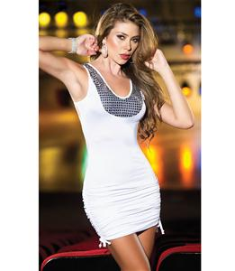 Sexy Sequin Racer Back Dress, Little White Dress, Sequin Dress, #C5231