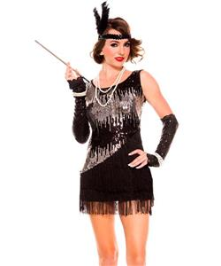 Sequin Sparkly Flapper Costume, Black And Silver Flapper Costume, Sequin Flapper Dress, #N9013